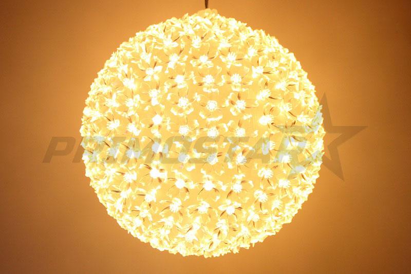 ozdoby led 300 kula z kwiatow lampa ciepla biel 26cm
